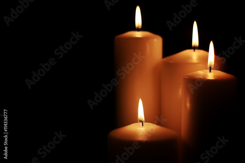 Fototapeta candle light isolated black obraz na płótnie