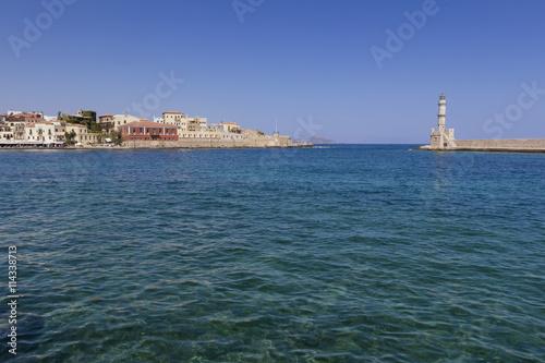 Montage in der Fensternische Leuchtturm Chania Port Crete Greece