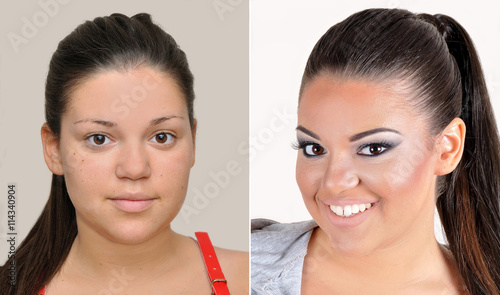 Teenage Girl Before And After Applying Make Up Hairstyling And