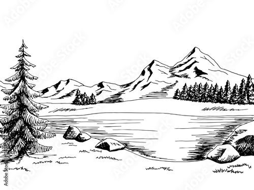 Landscape Illustration Vector Free: Mountain Lake Graphic Art Black White Landscape