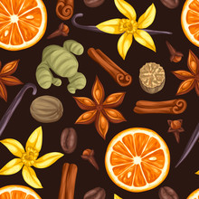 Seamless Pattern With Various Spices. Illustration Of Anise, Cloves, Vanilla, Ginger And Cinnamon