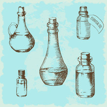 Set Of Glass Bottles Painted By Hand. Sketch. Jars And Bottles Can Be Used For Essential Oils, Vegetable Oils, Medicinal Preparations. Vintage Background. Vector