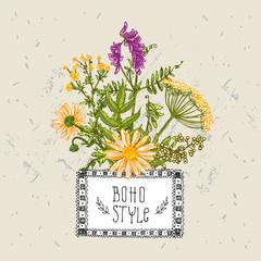 Panel Szklany Boho boho style flower