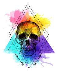 Panel Szklany Boho Tattoo style skull.