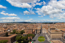 Rome Cityscape Panorama With Piazza Venezia In Foreground