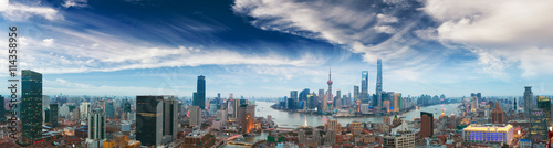 Photo  Aerial photography at Shanghai bund Skyline of panorama