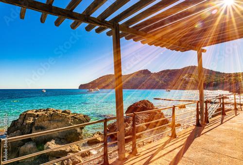 Fotografia  Setting Sun in Camp de Mar Coast Bay Majorca Spain Mediterranean Sea