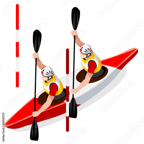Fotografía  Kayak Slalom Doubles Canoe Summer Games Icon Set