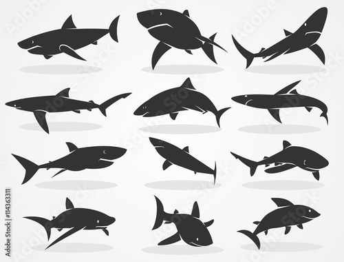 Photo Set of silhouettes of sharks isolated on a black background