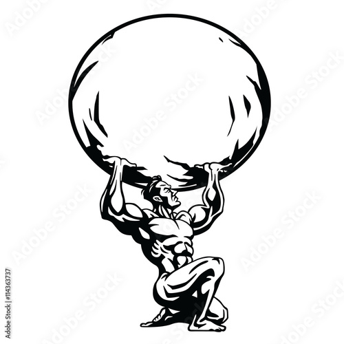 Photo  Stylized drawing of the Atlas Vector