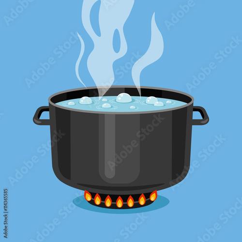 Fotografie, Tablou Boiling water in pan