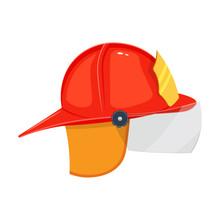 Firefighter Helmet Vector Illustration Isolated On White Background