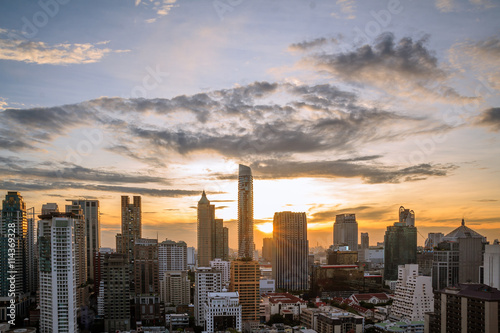 Canvas Prints New York Bangkok in the evening. Panoramic and perspective view background of glass high rise building skyscraper commercial of future. Business concept of success industry tech architecture