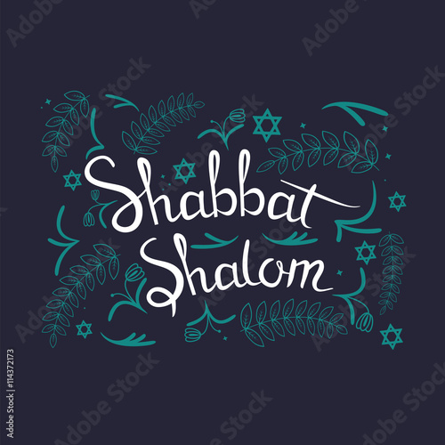 Photo  Hand written lettering with text Shabbat shalom
