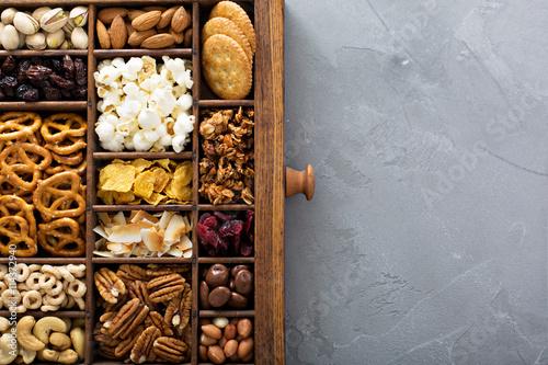 Fotografia, Obraz  Variety of healthy snacks overhead shot
