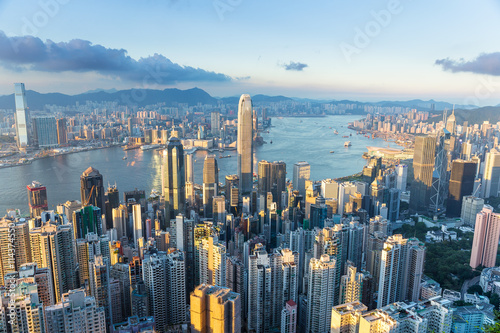 Hong Kong city with sunset Slika na platnu