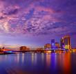 Jacksonville skyline sunset river in Florida