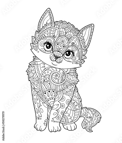 Sitting Kitten In Zentangle Style Vector Hand Drawn Sketch Little Cat With Floral Oprament