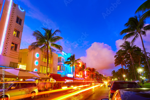 Photo  Miami South Beach sunset Ocean Drive Florida