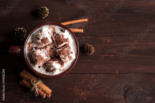 Spoed Foto op Canvas Chocolade Hot chocolate in a mug, marshmallows, cinnamon sticks and fir cones, top view, flat lay