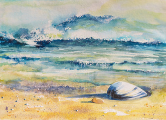 Panel Szklany Marynistyczny Watercolor illustration of a sea shell on a beach with sea in background.