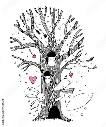 Beautiful magic tree, fox, hare angel and owl.