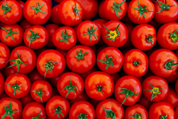 red tomatoes background. top view