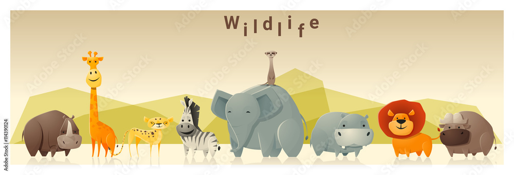 Image of: Funny Cartoon Poster Foto Wild Animal Background vector Illustration Koop Op Europostersnl Europosters Poster Foto Wild Animal Background vector Illustration Koop Op