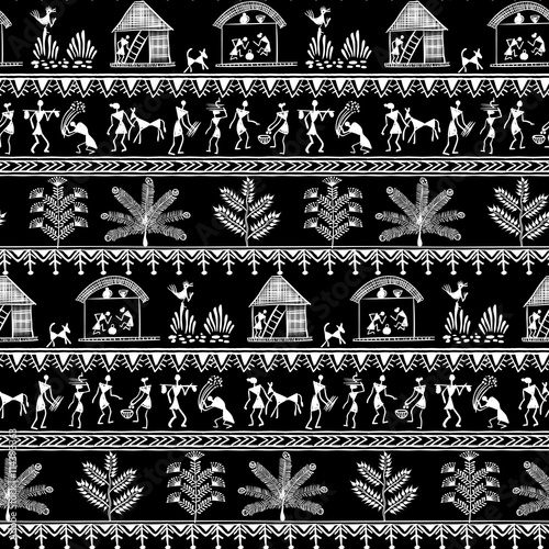 Fotografie, Obraz  Warli painting seamless pattern - hand drawn traditional the ancient tribal art India