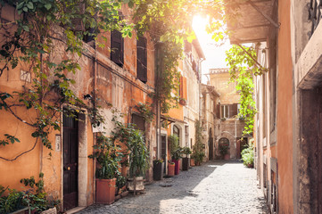 Fototapeta A picturesque street in Rome, Italy