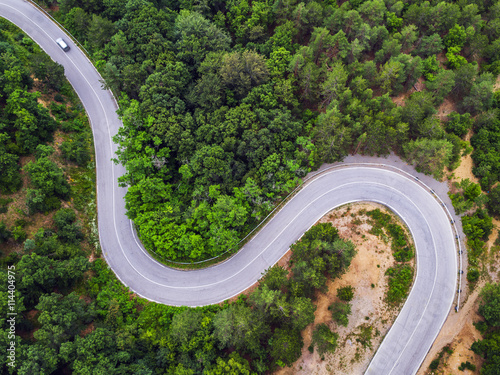 Foto op Aluminium Luchtfoto Aerial view over mountain road