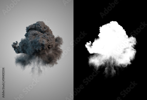 Türaufkleber Rauch Dangerous and dramatic cloud 3d rendering of black smoke after an explosion with alpha channel