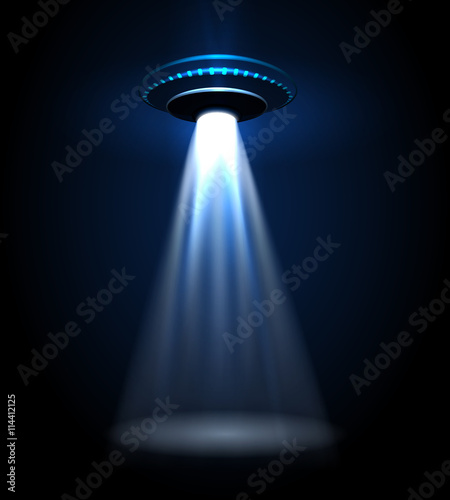 Canvas Print UFO alien flying with lights vector illustration