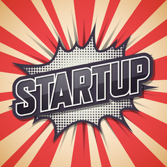 Startup, Retro poster, Vector illustration