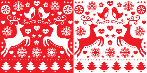 Obraz na Szkle Folklor Christmas red greetings card pattern with reindeer - folk art style
