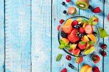 Fresh Fruit Salad Served On Wo...