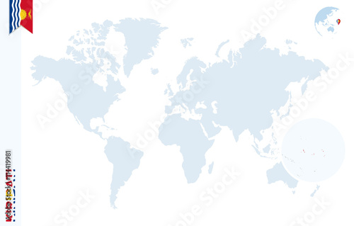 Blue world map with magnifying on Kiribati. - Buy this stock vector on malaysia on world map, barbados on world map, new zealand on world map, french guyana on world map, map of belize on world map, laos on world map, comoros on world map, samoa on world map, south sandwich islands on world map, tonga on world map, the sudan on world map, marshall islands on world map, grenada on world map, myanmar on world map, 1992 world map, srivijaya on world map, vanuatu on world map, okinawa island on world map, marianas on world map, micronesia on world map,