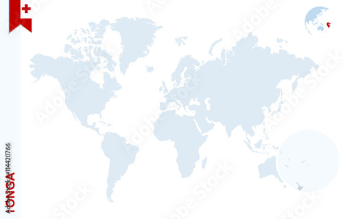Tonga World Map.Blue World Map With Magnifying On Tonga Buy This Stock Vector And