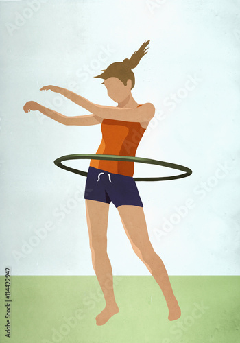 Woman with hula hoop standing on field