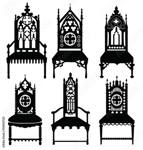 Gothic Style Chairs Set With Ornaments Vector Sketch