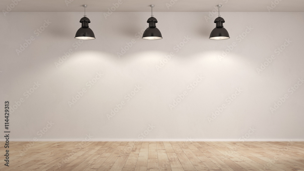 Fototapety, obrazy: Drei Lampen hängen im Raum
