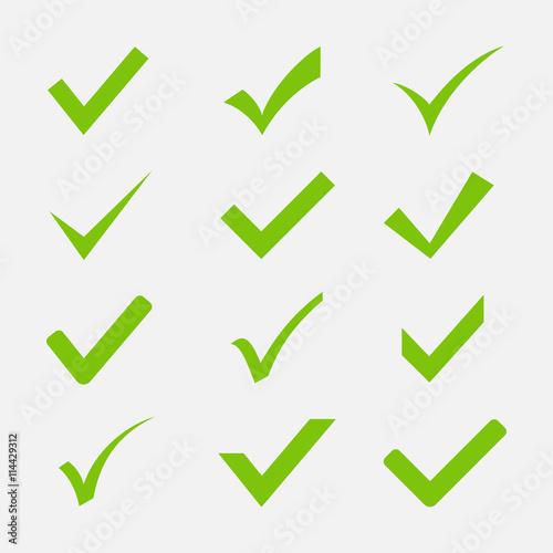 Fotografie, Obraz  Check mark icon vector set