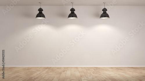 Drei Lampen hängen im Raum Canvas Print