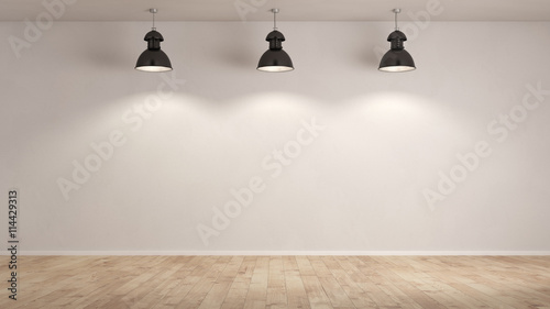 Fotografía Drei Lampen hängen im Raum