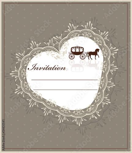 Papiers peints Affiche vintage Lace heart shape Invitation card. Vector