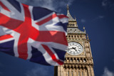 Fototapeta Big Ben - British union jack flag and Big Ben Clock Tower at city of westminster in the background - UK votes to leave the EU