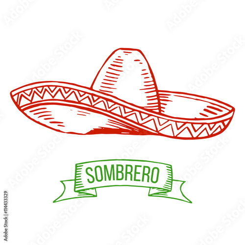 Fotografie, Obraz  Hand drawing sombrero isolated on white background