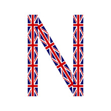 Letter N Made From United Kingdom Flags