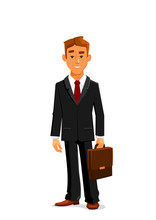 Man In Business Suit With Briefcase