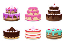 Cakes Vector Set. Icons On Whi...
